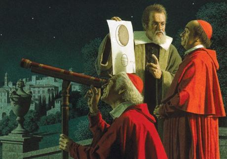 Галилей Collegio Romano кардиналларига ўзининг телескопи ва у ёрдамида тунги осмонда кўрганларини чизиб кўрсатмоқда. Рассом О. Леони.