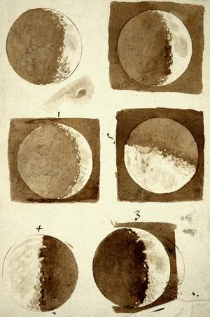 Ой сирти кўринишининг олти фазаси, «Юлдузли ахборот»даги  Галилей ўз қўли билан чизилган акварель сурат  (1610). Флоренция миллий кутубхонаси.