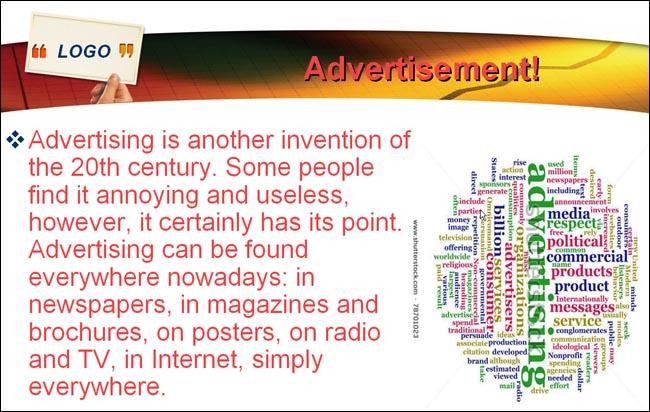 «What is advertisement?»  очиқ дарс ишланмаси